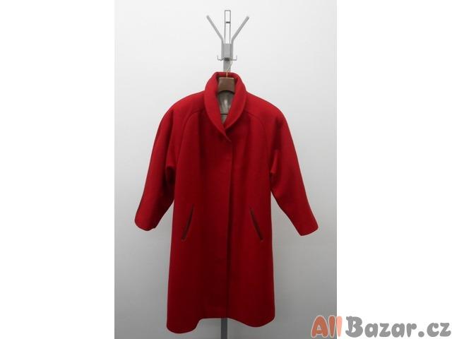 Dámský flaušový kabát – červený  9aa85a7be6
