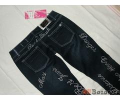 Luxusní bové jeansy s našitými nápisy - NOVÉ - 40