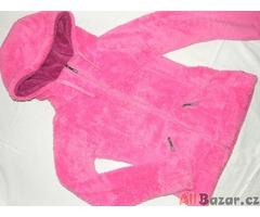 Nádherná zářivě růžová chlupatá hřejivá mikina s kapucí - NOVÁ - L