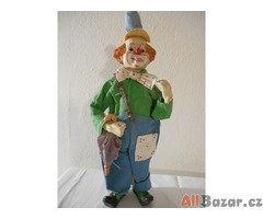 Stará porcelánová panenka – velký klaun zelený