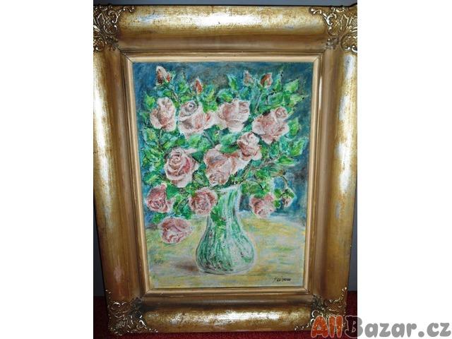 Ručně malovaný obraz - růže ve váze
