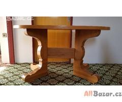 Masivní dřevěný stůl + 4 židle