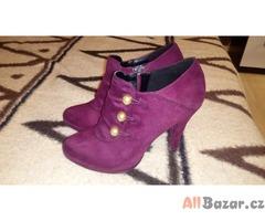 Vínové boty na podpatku