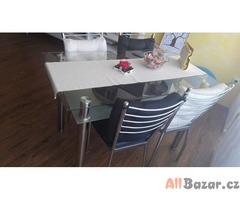 Jídelní stůl Katharina + 4x jídelní židle Vlasta + 4x sedák na židli