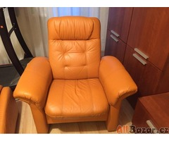 kožená sedací souprava - oranžová