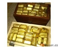 Zlaté tyče, prach, nugety a diamanty na prodej