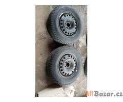 2x plechovy disk vw t4 s pneu 95% vzorek 5x112 pneu 195/70 r15c barum zet zimni