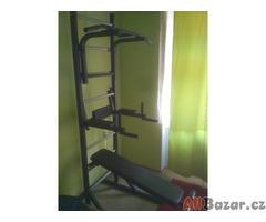 posilovací žebřík, hrazda a bradla + lavička