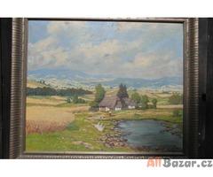 Venkovská krajina - olej na plátně