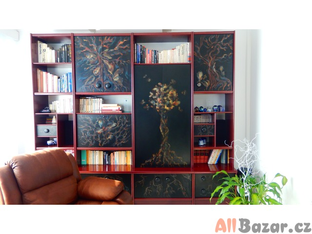 Super na chatu,chalupu - malovaná obývací stěna - originál - masivní, s barem
