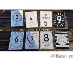 Těhotenské milníkové kartičky 20 ks nové