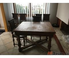 Prodám starožitný stůl a 6 židlí