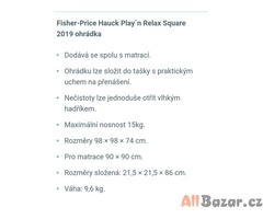Ohrádka_Hauck Play´n Relax Square 2019