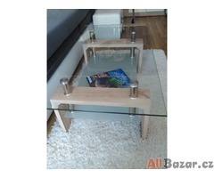 Konferenční stolek skleněná deska  - spodní část Dub Sonoma