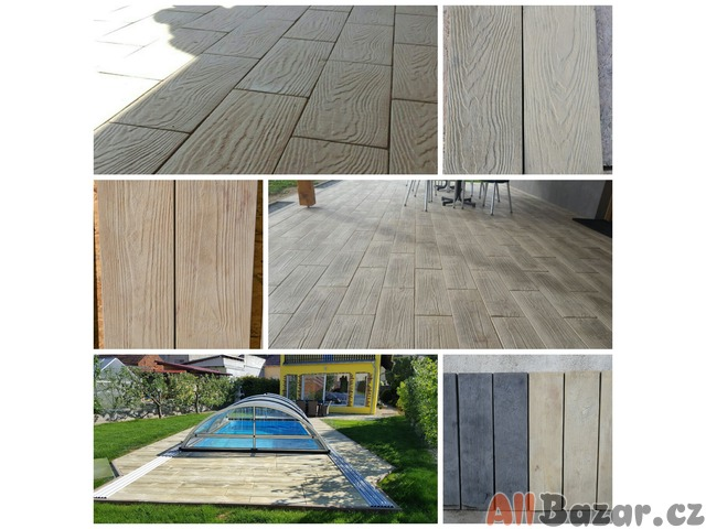 Betonová dlažba v imitaci dřeva