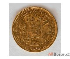 Zlatý venezuelský bolívar byl ražen v roce 1886