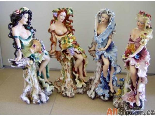 JARO,LÉTO,PODZIM,ZIMA - čtyři porcelánové sošky vysoké 405mm