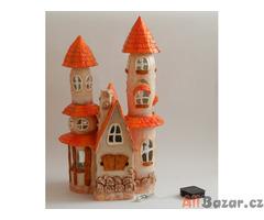 Oranžový dům - zahradní dekorace - solární LED