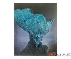 Mlha (Miloš Uhrín) – Modrá vlasatice, olej