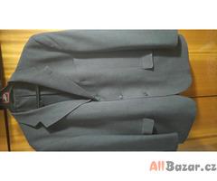 Pánský tm. šedý 3-dílný oblek